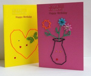 display 2 birthday cards images vase of flowers and heart in bright colours