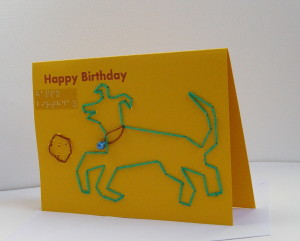 happy birthday green dog with ball yellow card