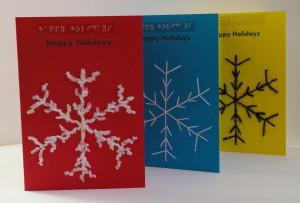 happy holidays snowflake 3 display card