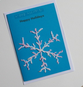 happy holidays snowflake blue card