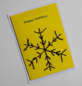 happy holidays snowflake yellow