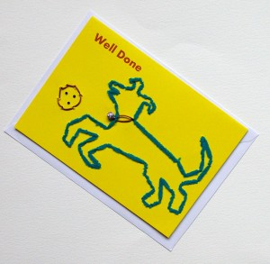 well done dog and ball card