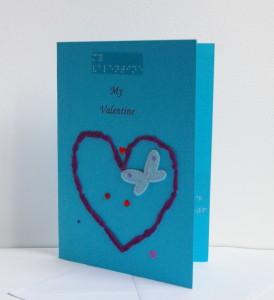 my valentine heart blue card