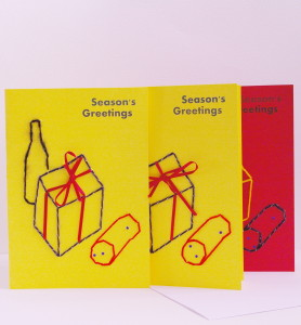 season's greetings 3 card display, yellow and red card