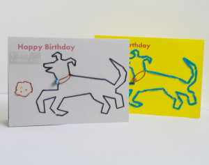 happy birthday card_ 2 card display_dog playing with ball