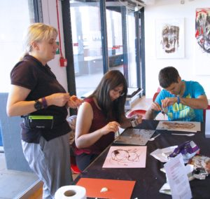 Lynn leading chocolate drawing workshop at OXO Gallery London